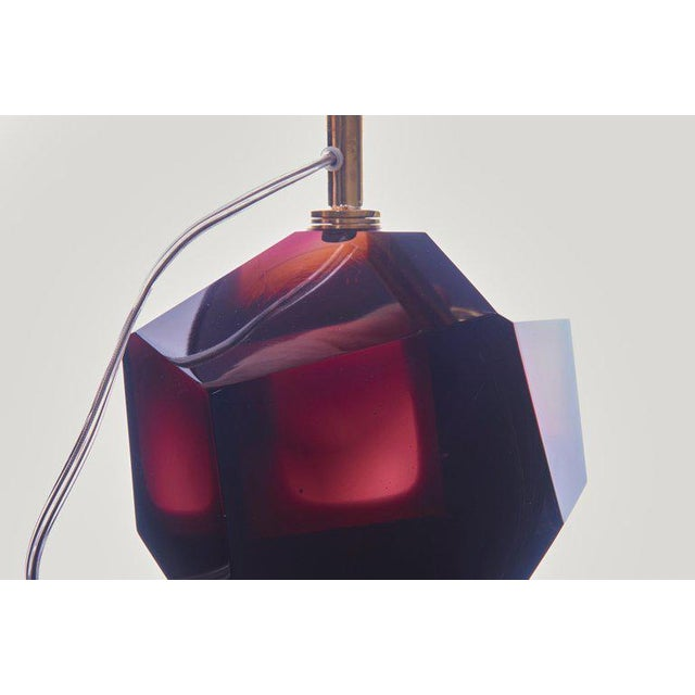 Red Pair of Diamond Shape Murano Glass Table Lamps For Sale - Image 8 of 11
