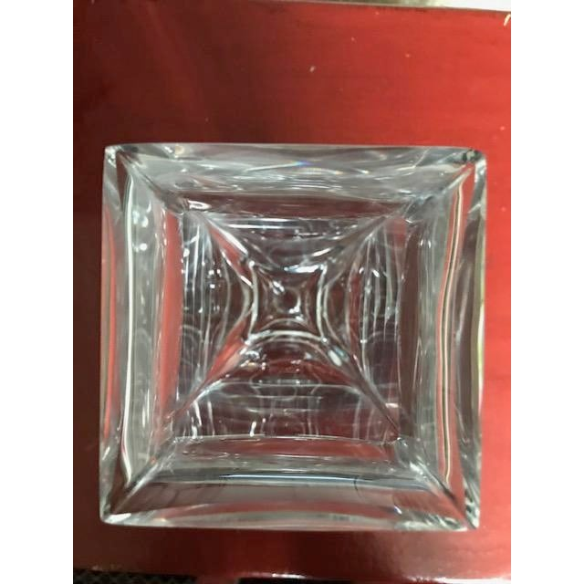 Transparent Israeli Crystal Vase With Sterling Silver Band For Sale - Image 8 of 10