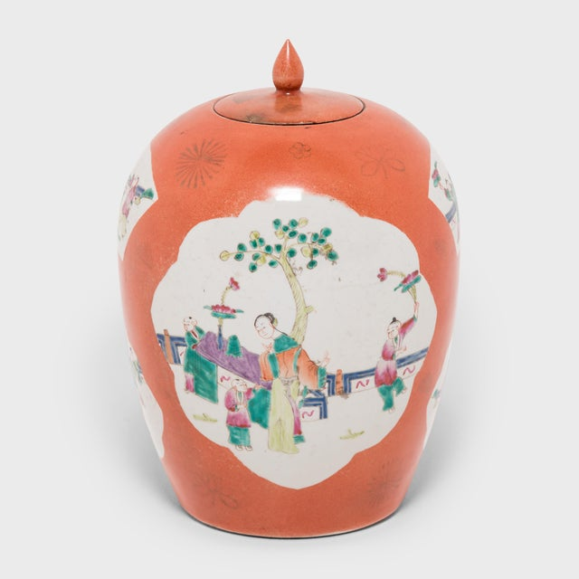 Ceramic Chinese Persimmon Ovoid Ginger Jar With Cartouche Paintings For Sale - Image 7 of 7
