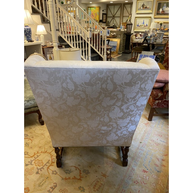 Damask Fabric Chair With Down Cushion and Mahogany Frame For Sale - Image 4 of 12