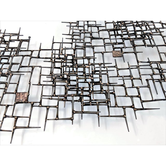 Early 21st Century Abstract Nail & Bronze Wall Jere Style Sculpture For Sale - Image 5 of 12