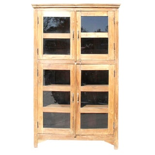 Colonial Glass Pane Teak Wood Bookcase For Sale