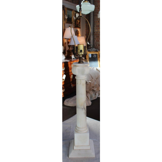 Vintage Neoclassical Marble Column Lamp - Image 6 of 7