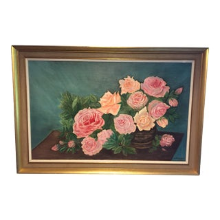 1968 Roses Still Life Acrylic Painting by Margaret Tweedie, Framed For Sale