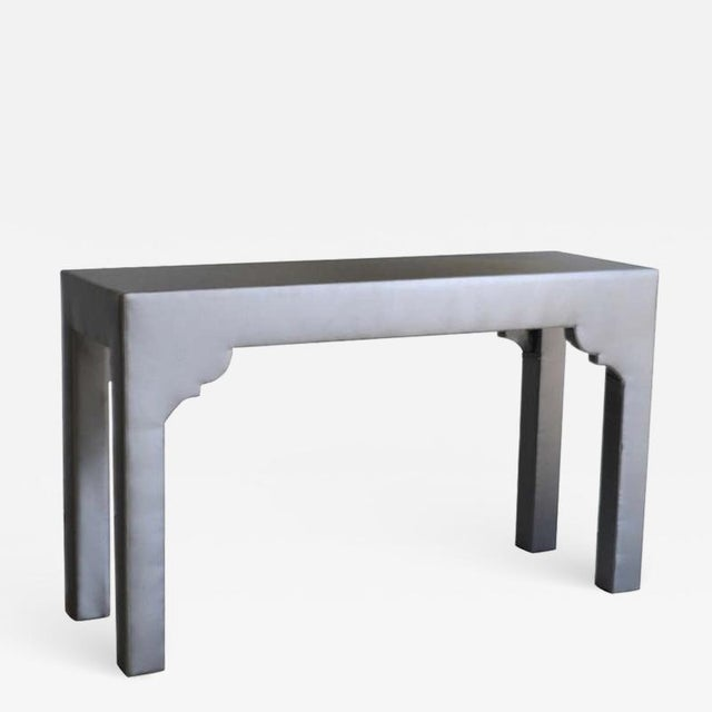 Wood Upholstered Console Table For Sale - Image 7 of 7