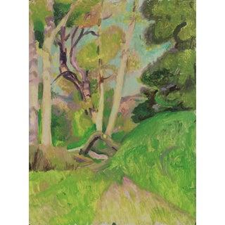 Lush Verdant Hillside Forest 20th Century Oil Painting For Sale