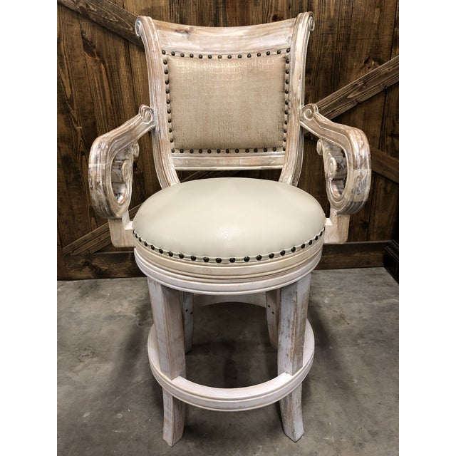 French Country Rustic Antique White Bar Stool For Sale - Image 9 of 9