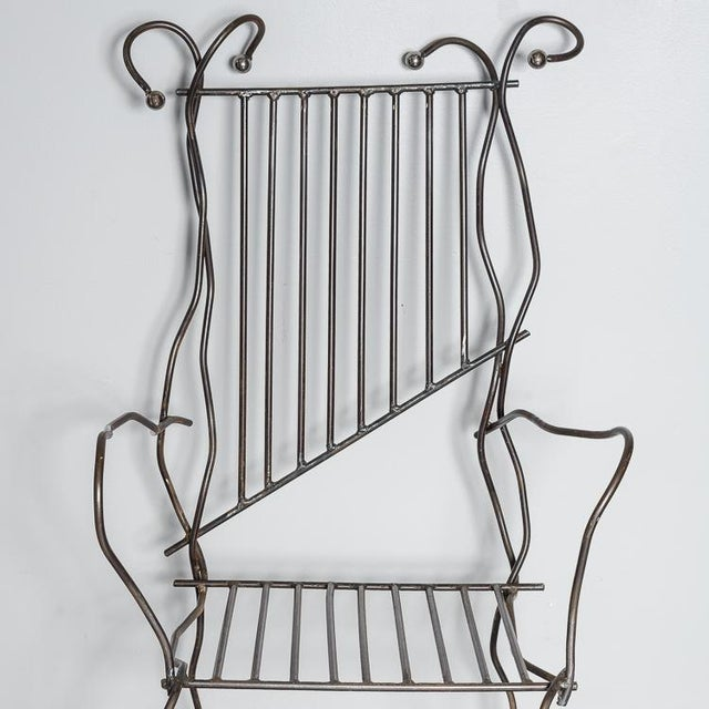 Italian Hand Made Modern Metal Chair Rare For Sale - Image 9 of 13