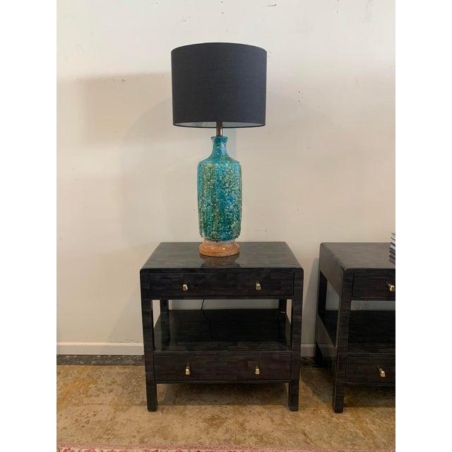 Contemporary 1960s Mid-Century Lava Glaze Ceramic Lamp For Sale - Image 3 of 6