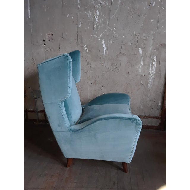 1960s Teal Velvet Wingback Chairs - a Pair For Sale - Image 4 of 7
