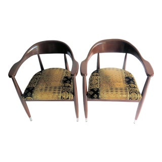 1960s Vintage Walnut Danish Style Chairs- A Pair For Sale