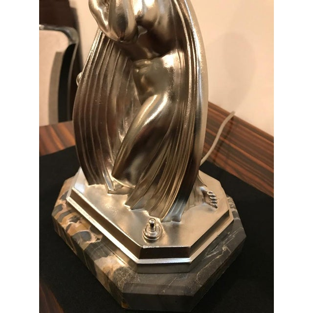 Glass French Art Deco Bronze Female Table Lamp Signed by Sabino For Sale - Image 7 of 11