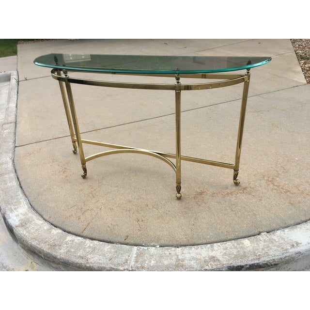 1960s Mid-Century Labarge Brass & Glass Demi-Lune Console Table For Sale - Image 5 of 13