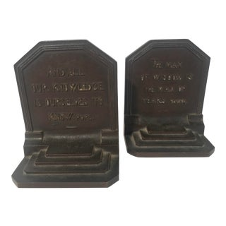 Circa 1920 Bradley and Hubbard Solid Bronze Bookends With English Poet Quotes - a Pair For Sale