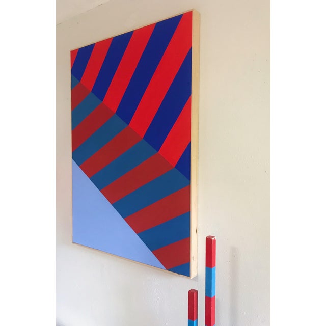Original Abstract Hard Edge Op Art Painting on Canvas by J. Marquis For Sale - Image 4 of 6