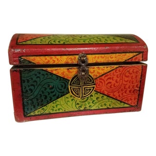 1970s Vintage Hand-Painted Tibetan Box For Sale