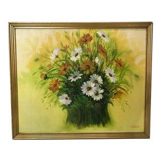 Vintage Mid Century Original Floral Still Life Painting For Sale