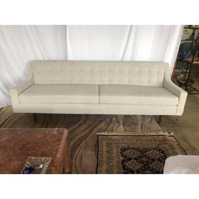 Textile Mid Century Gray Milo Baughman Style Sofa For Sale - Image 7 of 7