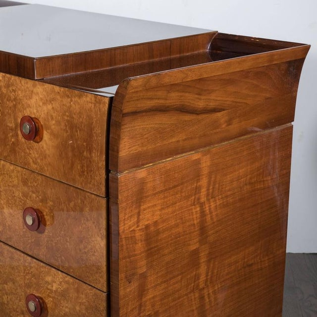 Art Deco Skyscraper Style Chest in Bookmatched Burled Elm, Mahogany and Walnut - Image 9 of 11