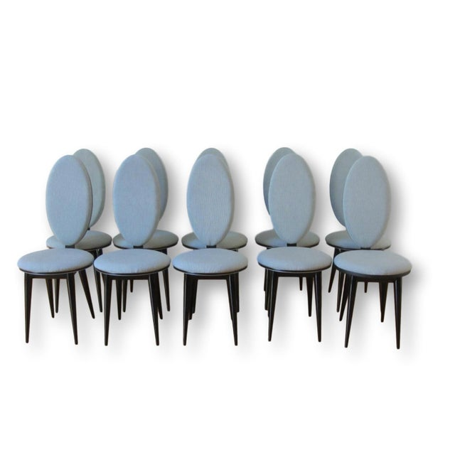 Art Deco Oval Back Lacquer Dining Chairs - 10 - Image 2 of 11