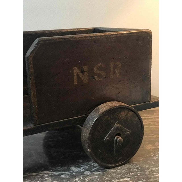 Late 19th Century Handmade Painted Wood Toy Train For Sale - Image 4 of 6