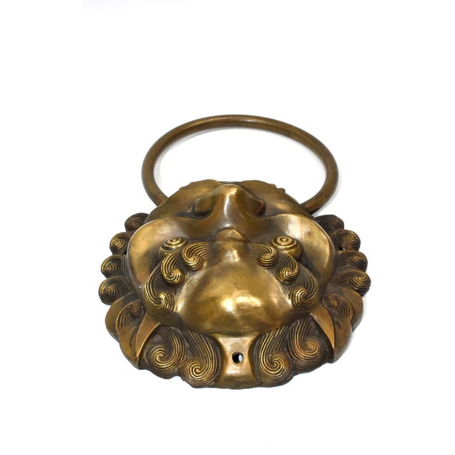 Brass Late 20th Century Vintage Large Lion Mastiff Brass Knockers- a Pair For Sale - Image 7 of 13
