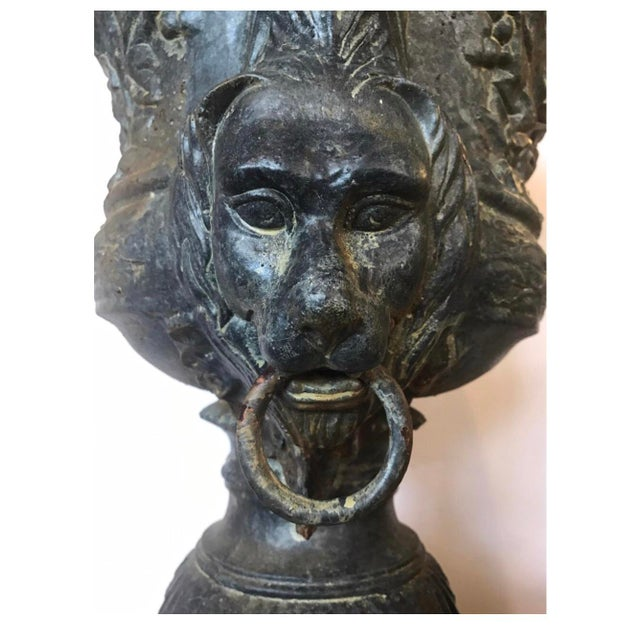 Monumental Antique Covered Cast Iron Urns on Plinths and Lion Head Handles, Pair For Sale - Image 9 of 11