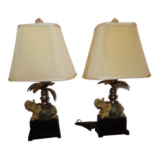 Vintage Elephant & Palm Tree Lamps With Cloth Shades - a Pair For Sale