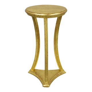 """Wooden Italian Gold Leaf Gilt Oval Top 34"""" Pedestal Plant Stand For Sale"""