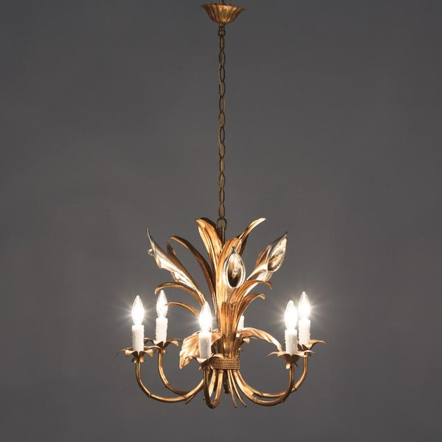 1950s French Gilded Metal Chandelier For Sale - Image 4 of 13