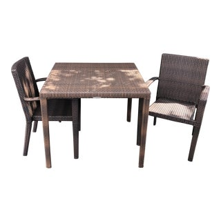 Hularo Outdoor Synthetic Fiber Dining Table and Chairs - Dining Set