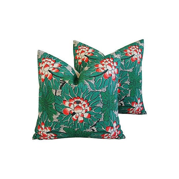 Custom Chinese Lotus Blossom Linen Pillows - Pair - Image 1 of 6