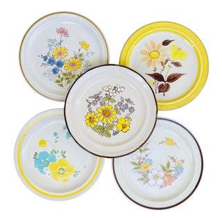 Vintage Mismatched Floral Stoneware Dinner Plates- Set of 5 For Sale