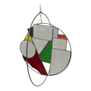 Hanging Contemporary Abstract Beveled & Stained Glass Hanging Sculpture For Sale