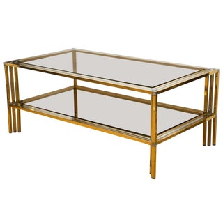 1970s French Brass and Chrome Rectangular Cocktail Table For Sale