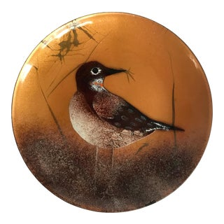 Mid Century Modern Bovano of Cheshire Enamel Plate With Bird Scene For Sale