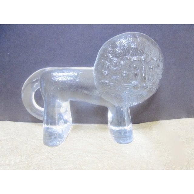 Kosta Boda Vintage Modernist Glass Lion - Image 5 of 9
