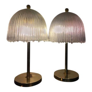Rene Lalique French Tulip Shade Table Lamps - A Pair For Sale