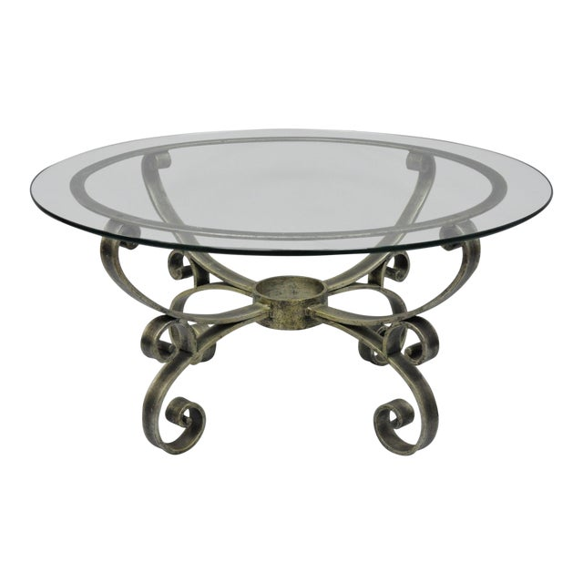 Image of Late 20th Century Vintage Scrolling Iron & Glass Top Coffee Table