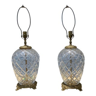 Mid 20th Century Diamond Pattern Table Lamps - a Pair For Sale