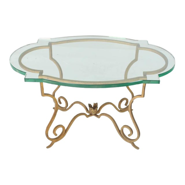 Mid Century Vintage Forged Gold Gilt Iron Base Figural Glass Oval Table For Sale - Image 6 of 6