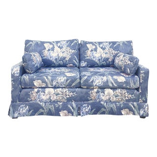 Vintage Blue Loveseat With Raised Floral Pattern For Sale
