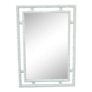 Vintage Dixie Faux Bamboo Hollywood Regency White Frame Fretwork Wall Mirror For Sale