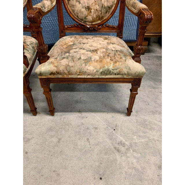 French Louis XVI Solid Mahogany Accent Chairs or Bergère Chairs 1920s - a Pair For Sale - Image 9 of 12