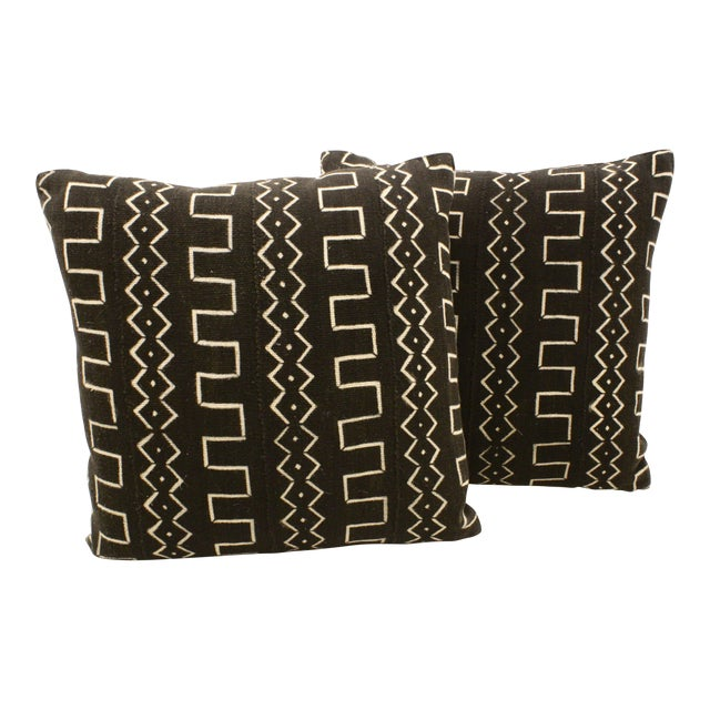 African Black Mud Cloth Pillows - A Pair - Image 1 of 3