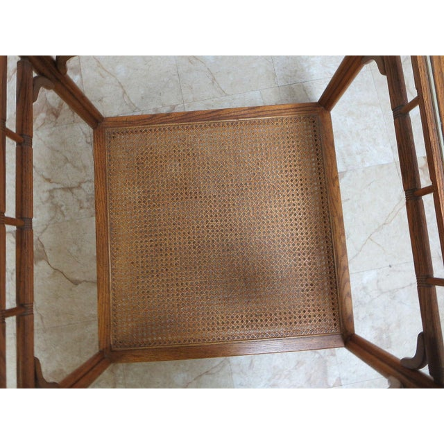 Vintage Mid-Century Campaign Faux Bamboo Carved End Table For Sale - Image 10 of 11