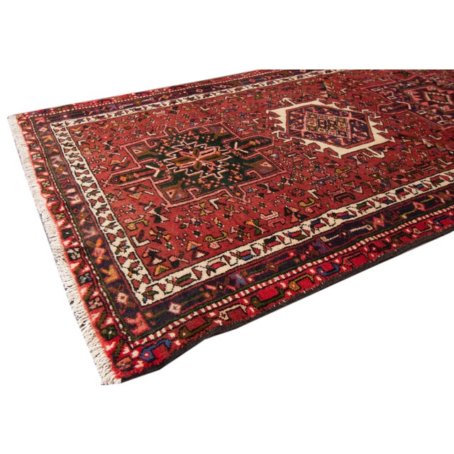 Traditional Red Vintage Persian Heriz Handmade Wool Runner For Sale - Image 3 of 6