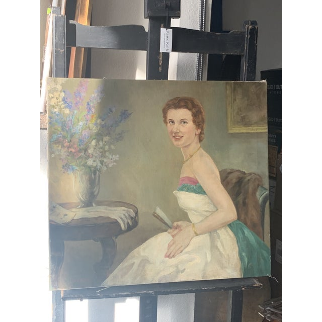 Figurative 1940s Portrait of a Lady Oil Painting For Sale - Image 3 of 6