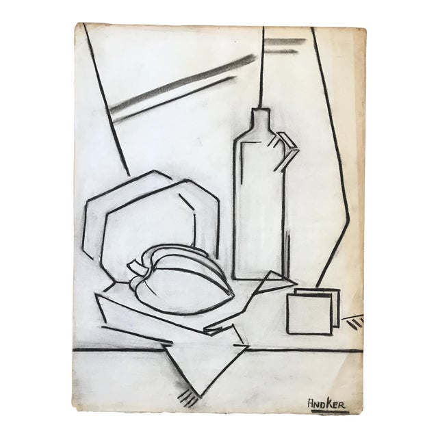 1930s Charcoal Cubist Still Life For Sale
