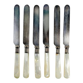 Silver Plate & Mother of Pearl Knives - Set of 6 For Sale